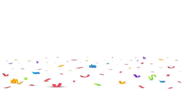 Konfetti-vektor-illustration festlichen hintergrund party-konzept fliegenden bändern isoliert