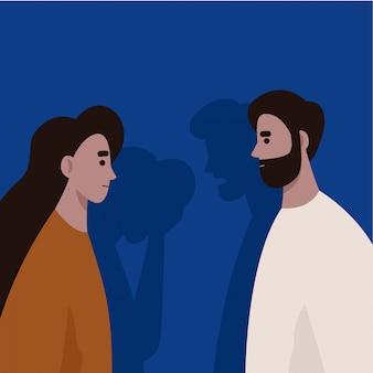 Konflikt zwischen mann und frau. häusliche gewalt und missbrauch. gasbeleuchtung. scheidung. flache illustration.