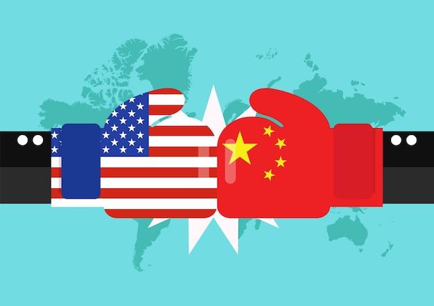 Konflikt zwischen usa und china mit weltkartehintergrund