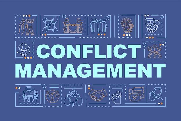 Konfliktmanagement blaue wortkonzepte-banner. umgang mit beziehungen. infografiken mit linearen symbolen auf blauem hintergrund. isolierte kreative typografie. vektorumriss-farbillustration mit text