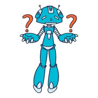 Konfuser blauer roboter, der eine frage stellt.