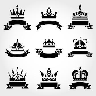 Königliche Vektor Kronen und Bänder Logo Vorlagen gesetzt