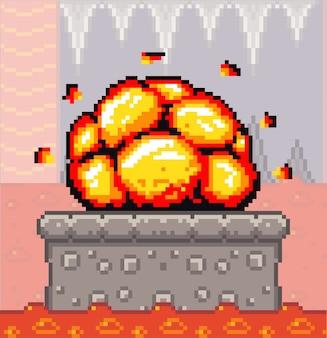 Konkrete plattform der pixelkunstspielszene mit knallexplosion, kerker mit fließendem feuerfluss