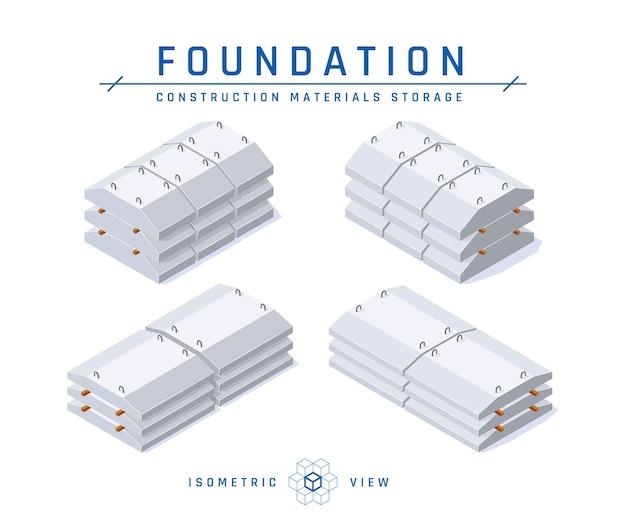 Konkretes fundamentspeicherkonzept, isometrische ansicht von symbolen für die architektonische gestaltung