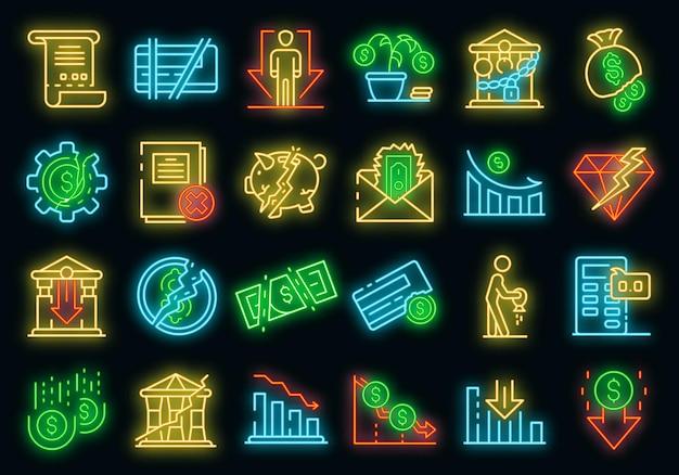 Konkurs symbole gesetzt. umrisse von bankrotten vektorsymbolen neonfarbe auf schwarz