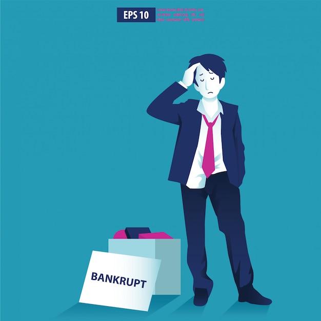 Konkursillustrationskonzept. geschäftsmann mit pleite firma. globale finanzkrise mit pfeilabnahmesymbol. wirtschaft sinkt, verloren und bankrott