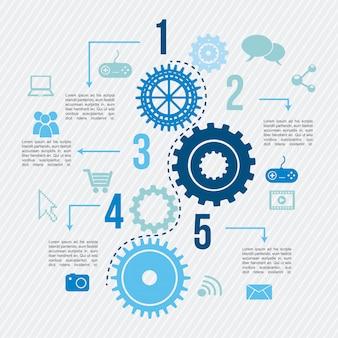 Konnektivität infografiken über linien hintergrund vektor illustrat