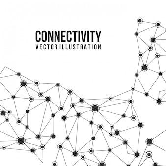 Konnektivitätsdesign über weißer hintergrundvektorillustration