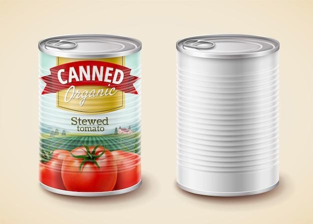 Konserven gedünstete tomaten-verpackungsdesign in 3d-darstellung