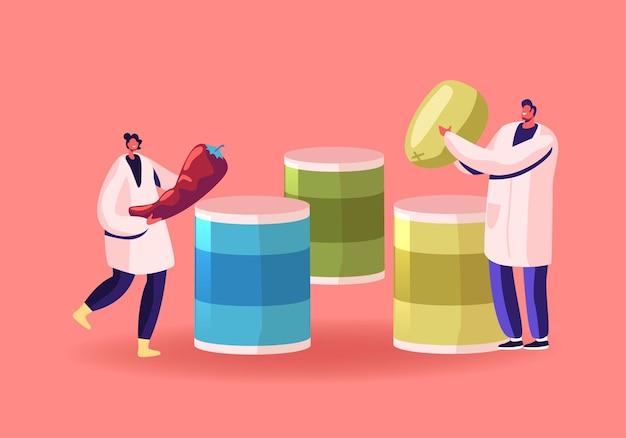 Konserven-konzept. arbeiter der konservenfabrik legen gemüse in verzinnte behälter metallverpackung. karikatur flache illustration