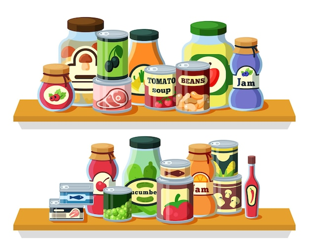 Konservierte lebensmittel, produkte in dosen flach. glasflaschen und gläser, metallverpackungen mit konservierung, küchenutensilien. konserven auf holzregal