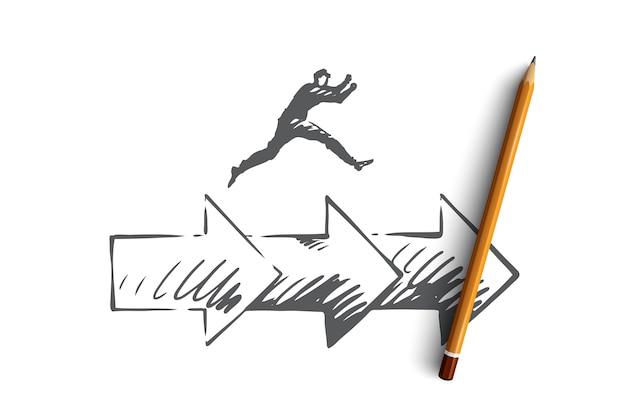 Konsistenz, geschäft, pfeil, erfolgskonzept. hand gezeichneter mann, der auf pfeilkonzeptskizze springt.