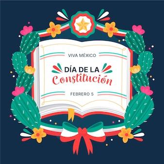 Konstitutionstag mexiko hand gezeichneten kaktus