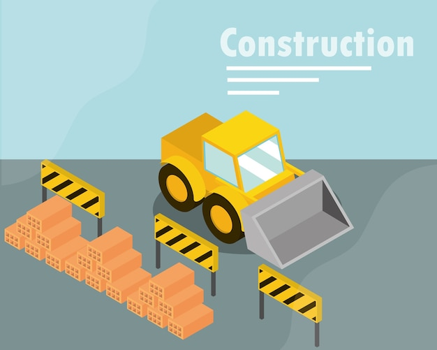 Konstruktion bulldozer barrieren und stapel ziegel isometrische darstellung