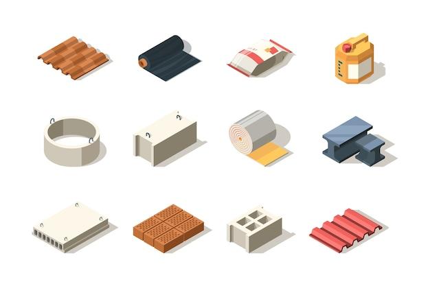Konstruktion. material für industriebauer holzziegel pfahlrohre sandbitumenplattendach isometrisch. illustration stahlkonstruktionsdach, betonmaterial, sand und ziegel