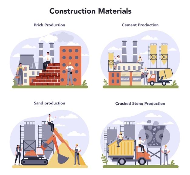 Konstruktionsmaterialproduktionsindustrie eingestellt. herstellung von ziegeln, zement, sand und schotter. bauprodukt. globaler klassifizierungsstandard der branche.