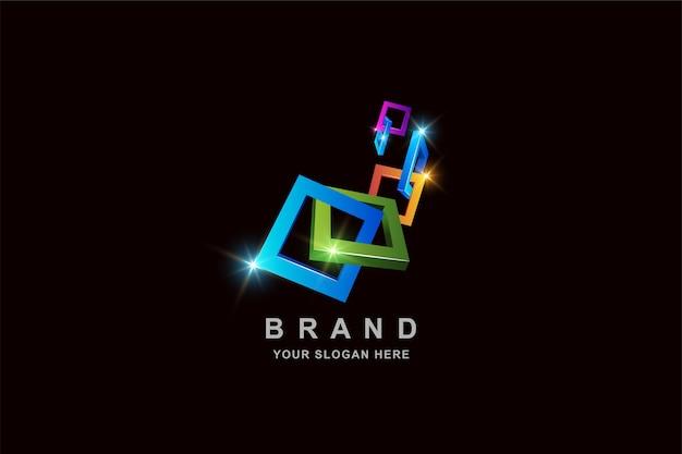 Konstruktionsrahmen quadratische logo-entwurfsschablone Premium Vektoren