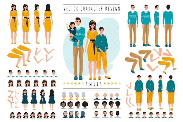 Konstruktionssatzvektorillustration der familienkarikaturfiguren