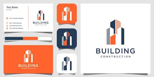 Konstruktionsschablone des konstruktionslogos. gebäude zusammenfassung und visitenkarte