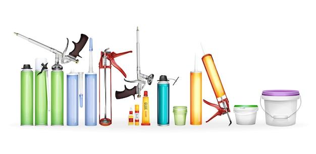 Konstruktionsschaum, silikondichtstoff, farbe und kleber des realistischen behälters 3d