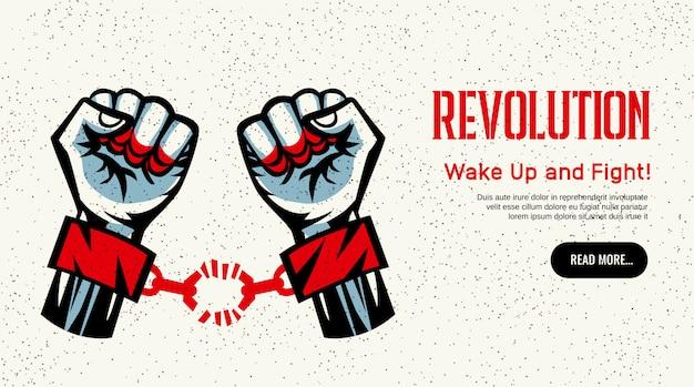 Konstruktivistisches weinleseartdesign der website-homepage der revolution, das mit defektem handschellenkampf für freiheitskonzept verbreitet