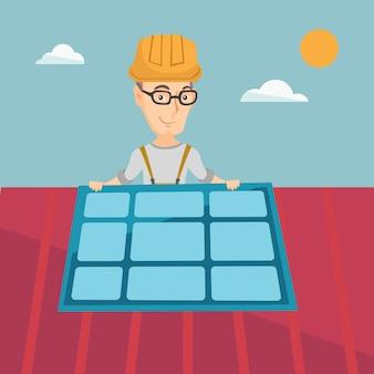 Konstruktor, der solarpanel installiert.