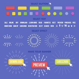 Konstruktor für schaltflächenhersteller. erstellen sie ihr banner für web, präsentationen, spiele und andere