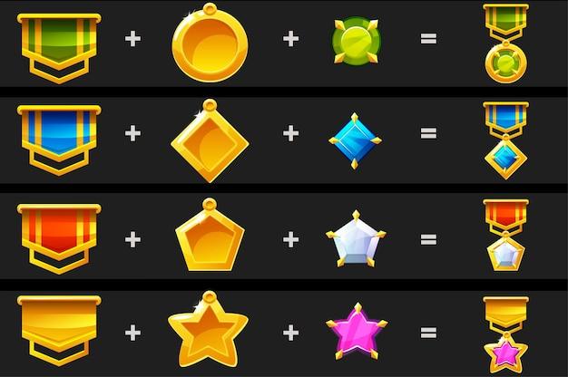 Konstruktor mit details für medaillen für das spiel. abbildung erstellen eine auszeichnung für den gewinner.