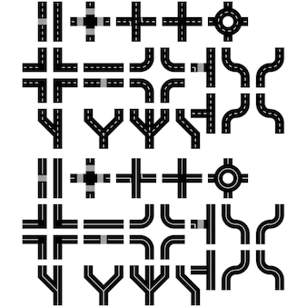 Konstruktor straßen gesetzt. flache straßenelemente. erstellen sie ihre eigene isometrische stadtstraße