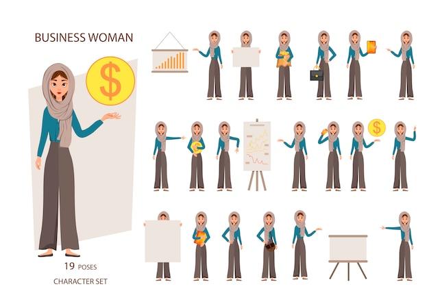 Konstruktorsatz weibliche charaktere. mädchen mit finanzattributen auf weißem hintergrund.