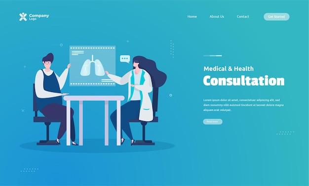 Konsultation des arztes zum zielseitenkonzept