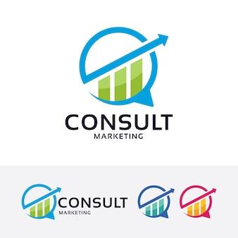 Konsultieren sie marketing-vektor-logo-vorlage