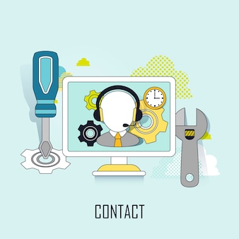 Kontakt-service-konzept: ein mann, der einen kopfhörer im linienstil trägt