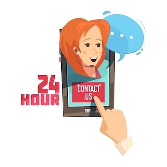 Kontaktieren sie uns 24-stunden-design mit der hand auf dem mobilgerät mit der lächelnden retro-karikatur des bedieners