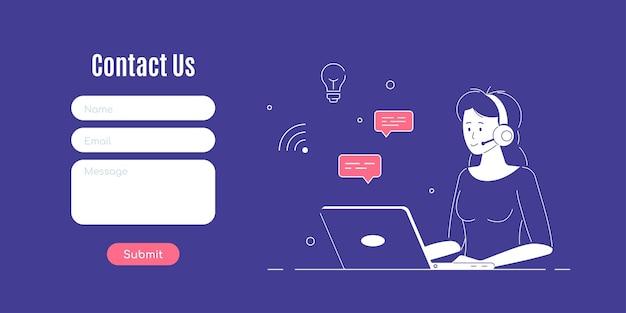 Kontaktieren sie uns formularvorlage. frau mit kopfhörern und mikrofon mit laptop. konzeptillustration für support, unterstützung, call center.