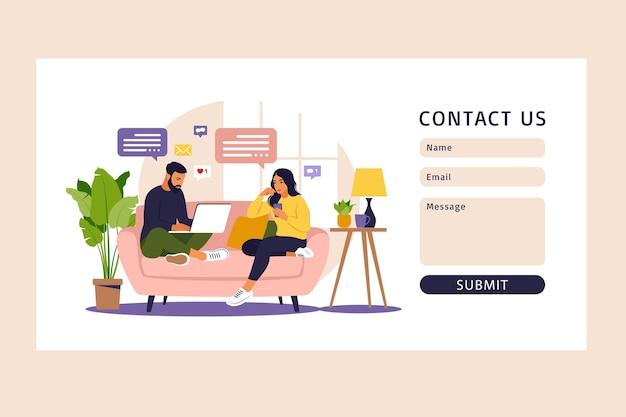 Kontaktieren sie uns formularvorlage für web. freiberufliche, online-bildung oder social-media-konzept. isoliert auf weiß. flacher stil.