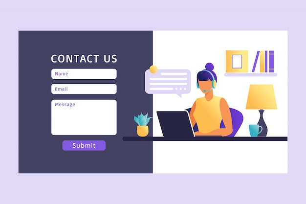 Kontaktieren sie uns formularvorlage für web. kundendienstmitarbeiterin mit headset im gespräch mit dem kunden. landing page. online-kundensupport. illustration.