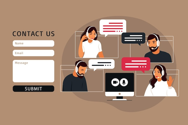 Kontaktieren sie uns formularvorlage für web. videotreffen der personengruppe. online-meeting per videokonferenz. fernarbeit, technologiekonzept. vektorillustration im flachen stil.