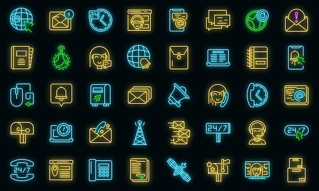 Kontaktieren sie uns icons set. umrisse von kontakten mit uns vektorsymbolen neonfarbe auf schwarz
