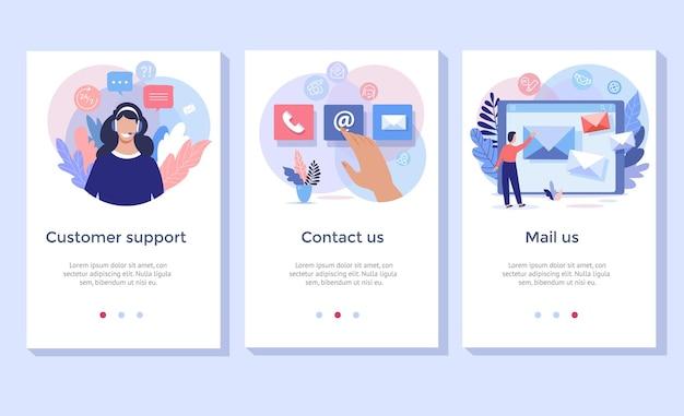 Kontaktieren sie uns illustrationsset, perfekt für banner, mobile app, landing page