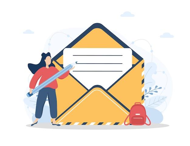 Kontaktieren sie uns konzept. frau mit bleistift füllt das online-kundenfeedbackformular aus.