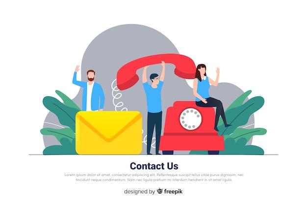 Kontaktieren sie uns konzept für die landing page
