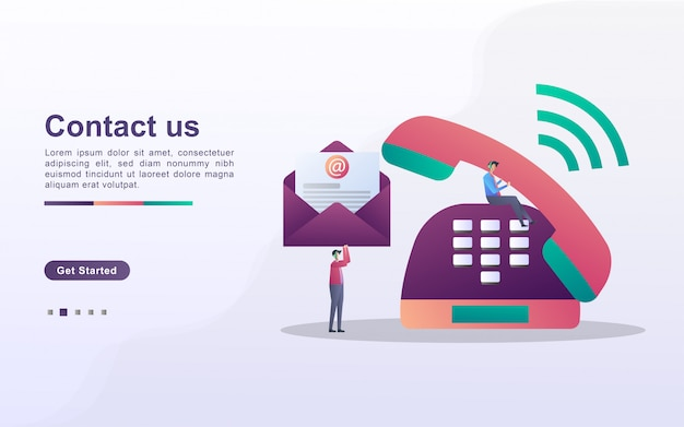 Kontaktieren sie uns konzept. kundendienst rund um die uhr, online-support, helpdesk.