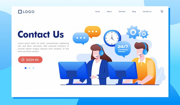 Kontaktieren sie uns landing page website illustration