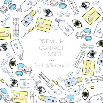 Kontaktlinsen-banner für augenklinik oder linsenshop-werbungsvektor-designvorlage mit ...