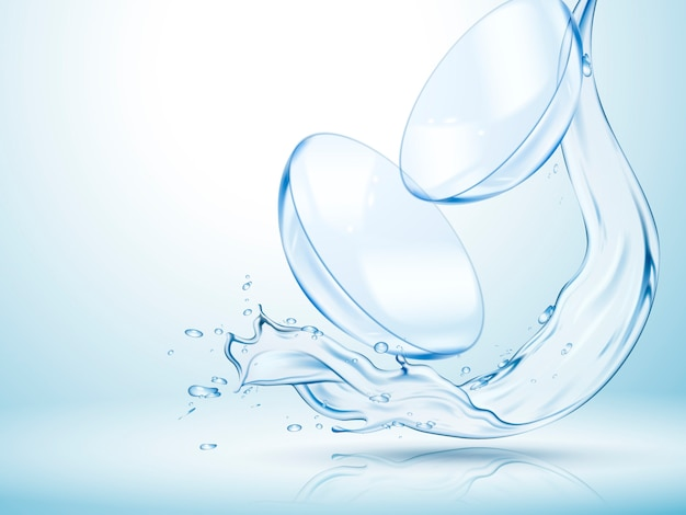 Kontaktlinsen mit klar fließendem wasser