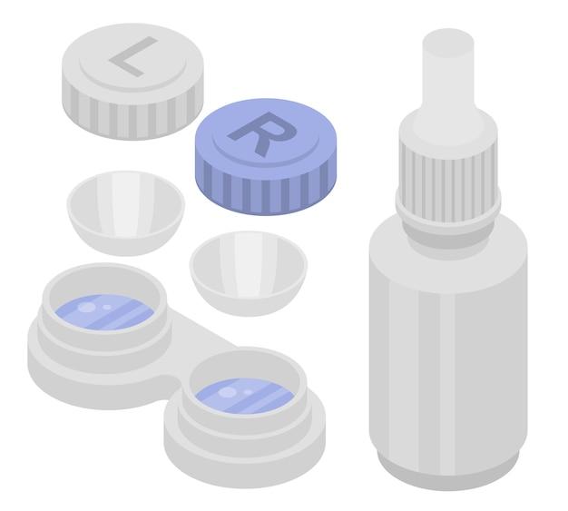 Kontaktlinsenikonen eingestellt. isometrischer satz kontaktlinsenvektorikonen für das webdesign lokalisiert auf weißem hintergrund