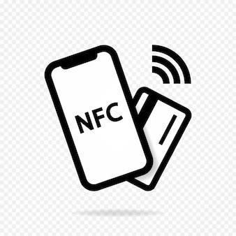Kontaktlose drahtlose zahlungsmethode für das nfc-logo nfc-technologie hilft ihnen, weniger zu bezahlen mit Premium Vektoren