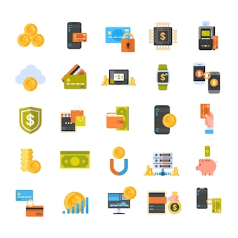 Kontaktlose ikonen stellten elektronische geldbörse und bewegliches zahlungs-konzept ein