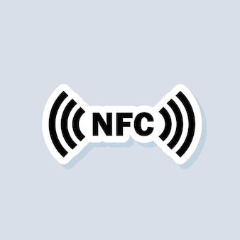 Kontaktlose zahlung aufkleber. nfc-symbol. drahtlose zahlung. kontaktloses bargeldloses symbol. vektor auf isoliertem hintergrund. eps 10.